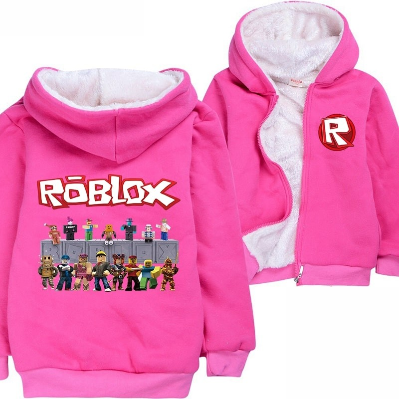 Kids Roblox Hoodie Jacket Fleece Jackets Winter Coats
