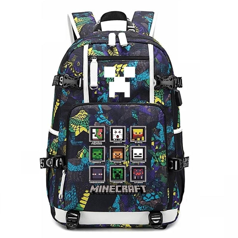 New Minecraft Backpack Camouflage Waterproof Bookbag Large