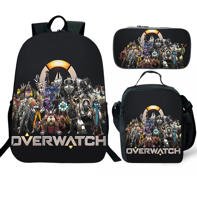 Overwatch Backpack Lunch Box School Bag Kid Bookbag Best Gifts