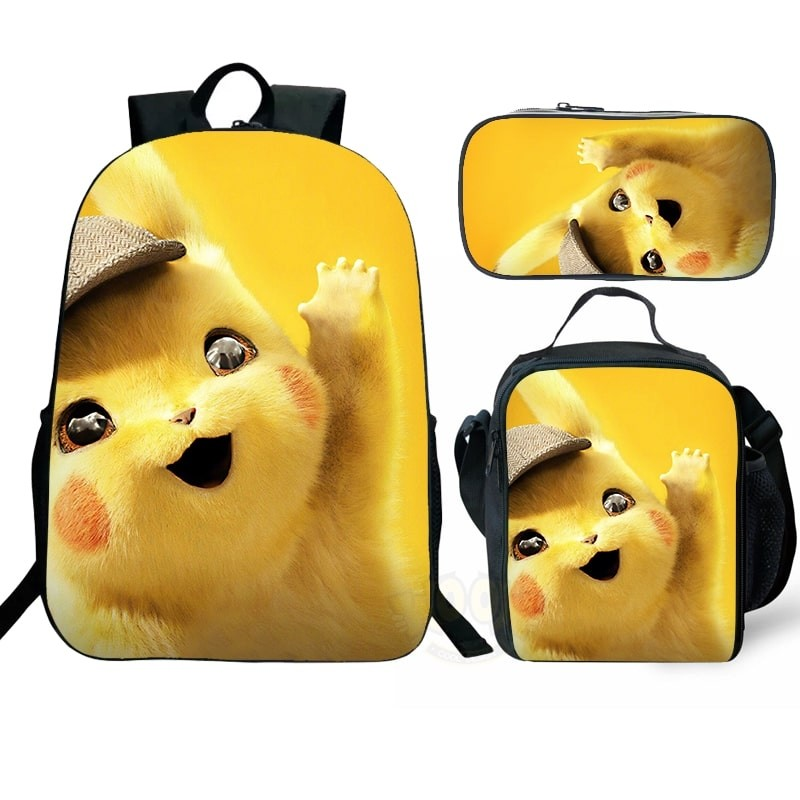 Cute Pikachu Backpack Kids Pokemon School Bag Set Lunchbox Pen Case Wholesale