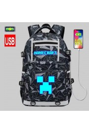 Minecraft Backpack USB charging port Bookbag Glows in the dark