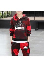 Kids Fortnite Cotton Camouflage Red Hoodie and sweatpants 2-Piece