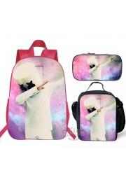 New marshmello Backpack Lunch box School Bag Kid Bookbag Pink