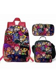 NEW Brawl Stars Backpack Lunch box School Bag Kid Bookbag Pink