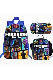 【Hot】 Fortnite Backpack Lunch box School Bag Kid Bookbag Blue