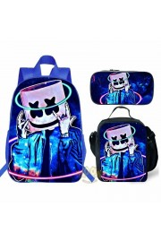【HOT】marshmello Backpack Lunch box School Bag Kid Bookbag Blue 1