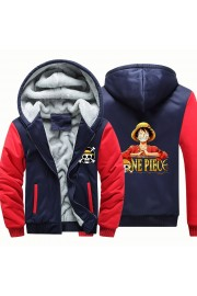 One piece Camouflage Luffy Jackets Thick Fleece Hoodies Winter Coats 1