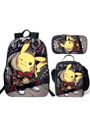 Pokemon Pikachu Backpack and Lunch box School Bag Kid Bookbag
