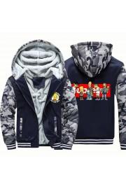 Kids The Simpsons Camouflage Jackets Thick Fleece Hoodies Winter Coats
